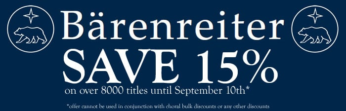 Special Offer: Save 15% on all Barenreiter Titles