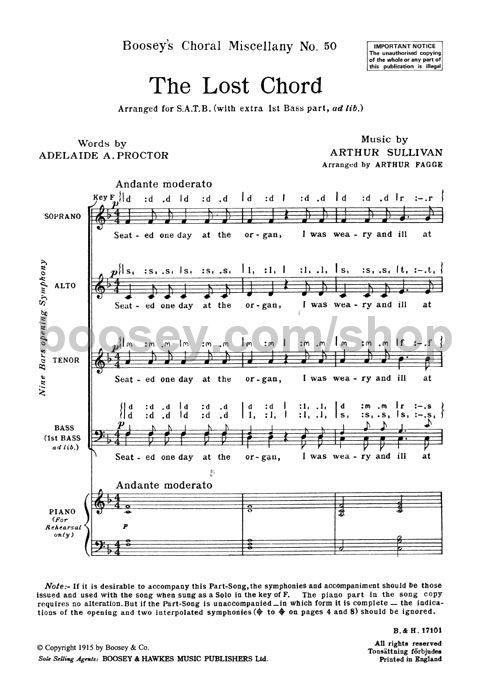 Arthur Sullivan The Lost Chord Satb