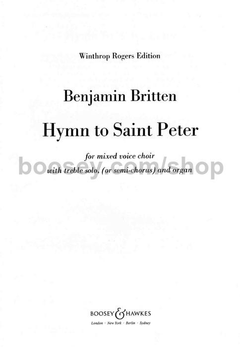 Benjamin Britten - Hymn to St  Peter SATB, soprano & organ