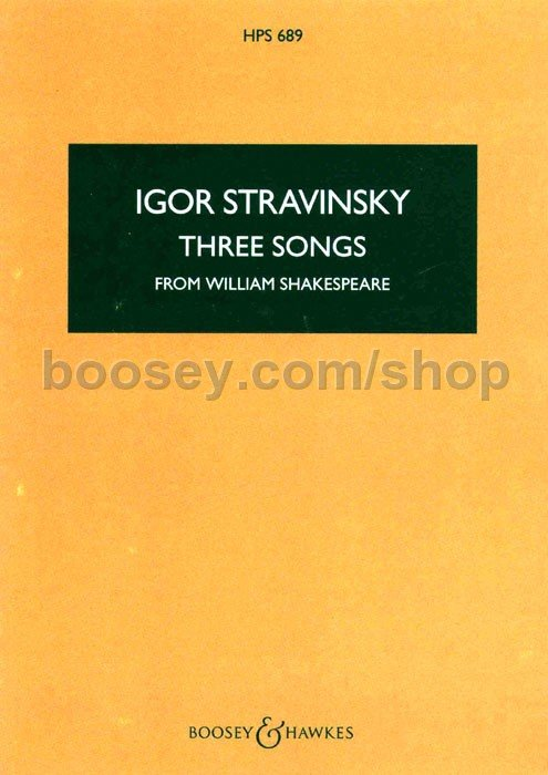 three songs from william shakespeare vocal score for mezzo soprano flute clarinet and viola 1953 music by igor stravinsky