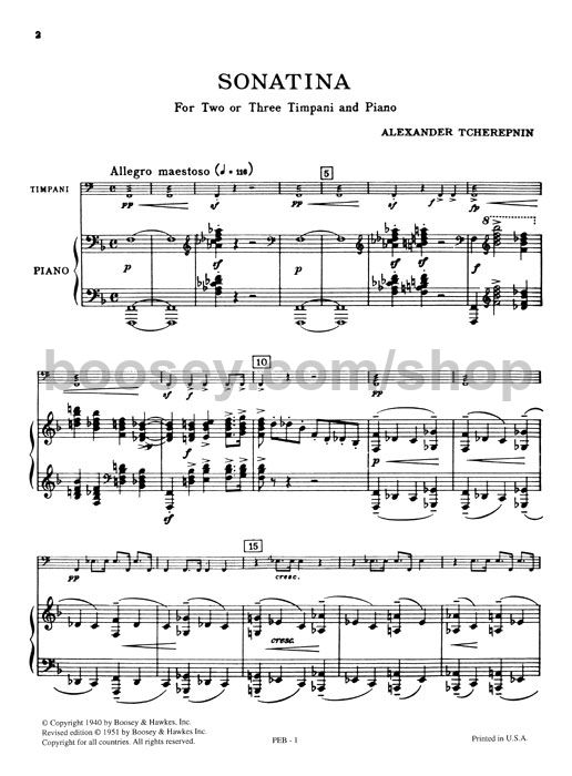 Alexander Tcherepnin Sonatina For Timpani