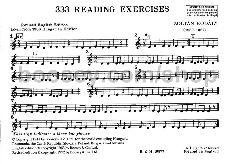 Choral Method - 333 Reading Exercises - Zoltan Kodaly