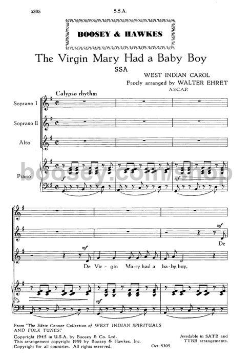 The virgin mary had a baby boy sheet music