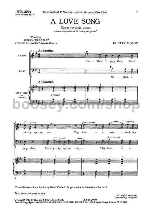 Gustav Holst - A Love Song TB & piano