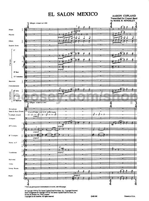 Aaron copland salon mexico wind concert band score for Aaron copland el salon mexico