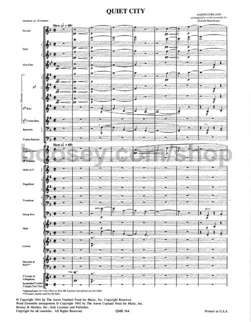 aaron copland s quiet city Aaron copland - symphony no 3 quiet city (leonard bernstein) information composer: aaron copland quiet city, for trumpet, cor anglais & strings philip smith.