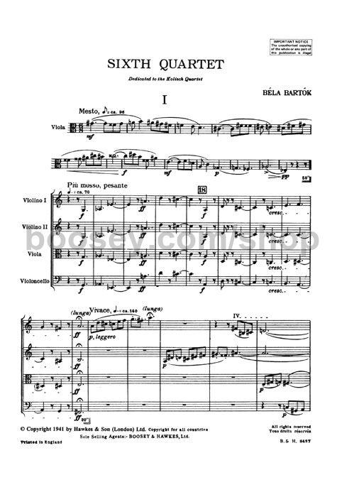 Béla Bartók - String Quartet 6 (1939)