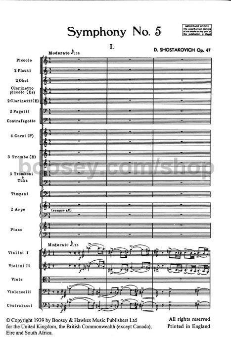 Symphony No study score Hawkes Pocket Scores HPS 628 orchestra 5 op 47