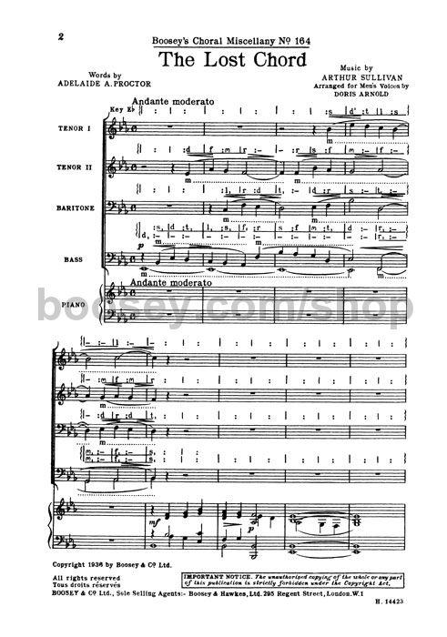 Arthur Sullivan The Lost Chord Ttbb Piano