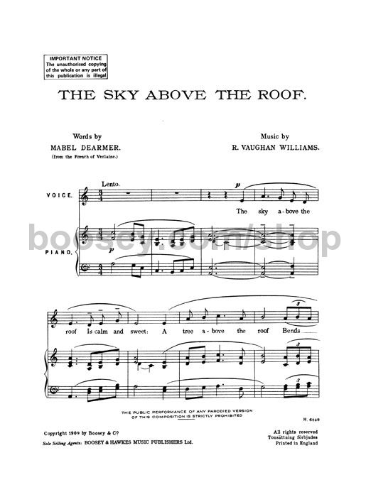 Ralph Vaughan Williams Sky Above The Roof In C