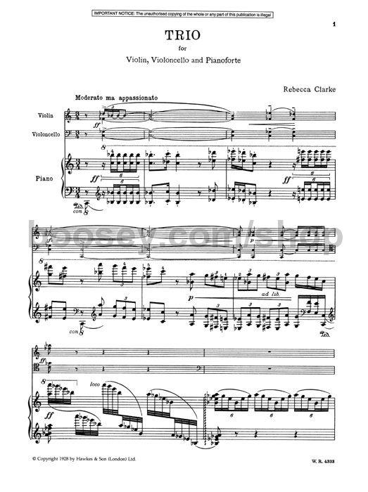CLARKE TRIO PIANO VIOLIN /& CELLO