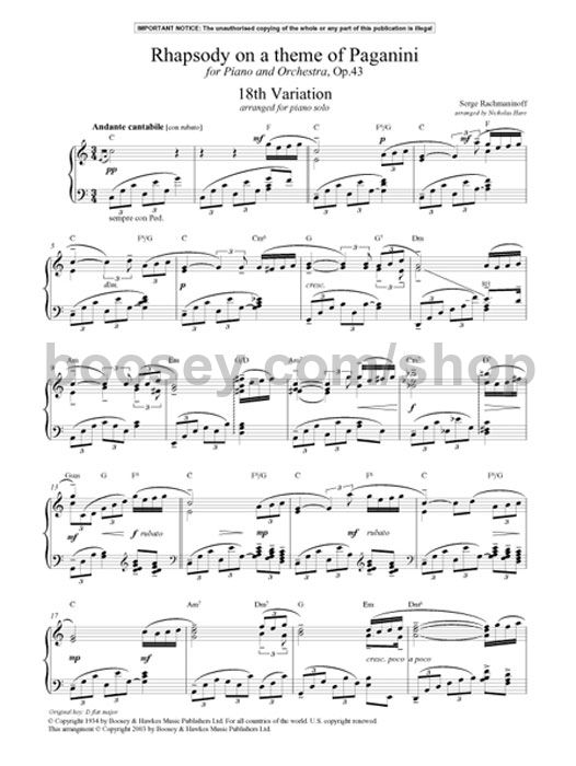 The piano Works of Rachmaninoff Eighteenth Variation from Rapsodie Paganini Solo