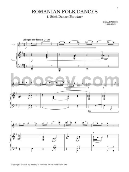 Béla Bartók (Hywel Davies) - Romanian Folk Dances for Flute