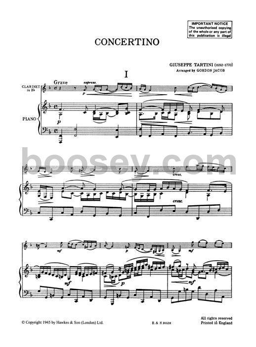 Giuseppe Tartini (Gordon Jacob) - Clarinet Concertino In F