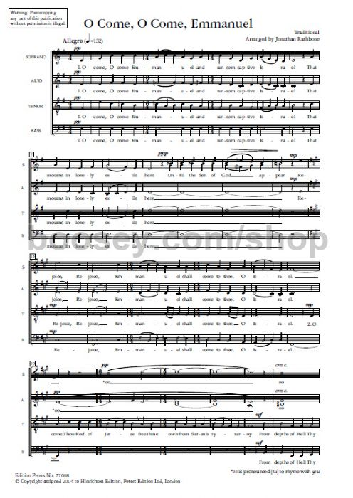 Traditional - O Come, O Come Emmanuel (SATB)
