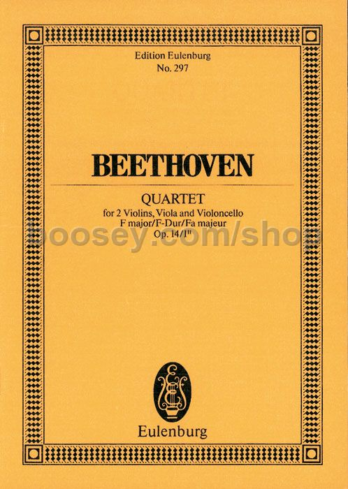 Ludwig van Beethoven - String Quartet in F Major, Op 14/1 (Study Score)