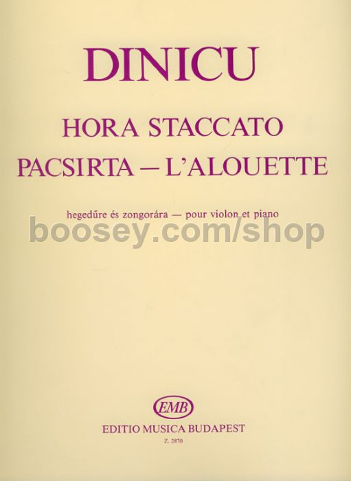 Sheet music for hora staccato by grigoraş dinicu, arranged for flute and piano