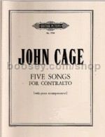 Five Songs For Contralto. Voice And Piano