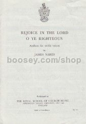 Rejoice in the Lord O Ye Righteous (in F) (Unison)
