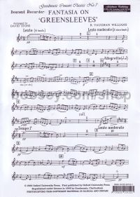 Fantasia On Greensleeves (arr. recorder)