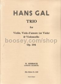 String Trio In A Op. 104 Set Of Parts