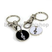 Key Ring - Trolley Token Treble Clef Black & White Design