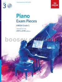 Piano Exam Pieces 2017 & 2018, ABRSM Grade 3, with CD
