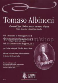 Violin Concertos, Vol. 3: Concerto in G major, Co 4 (score)