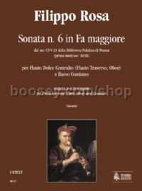 Sonata No. 6 in F Major for Treble Recorder (Flute, Oboe) & Continuo (score & parts)