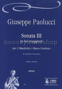 Sonata III in G Major for 2 Mandolins & Continuo (score & parts)