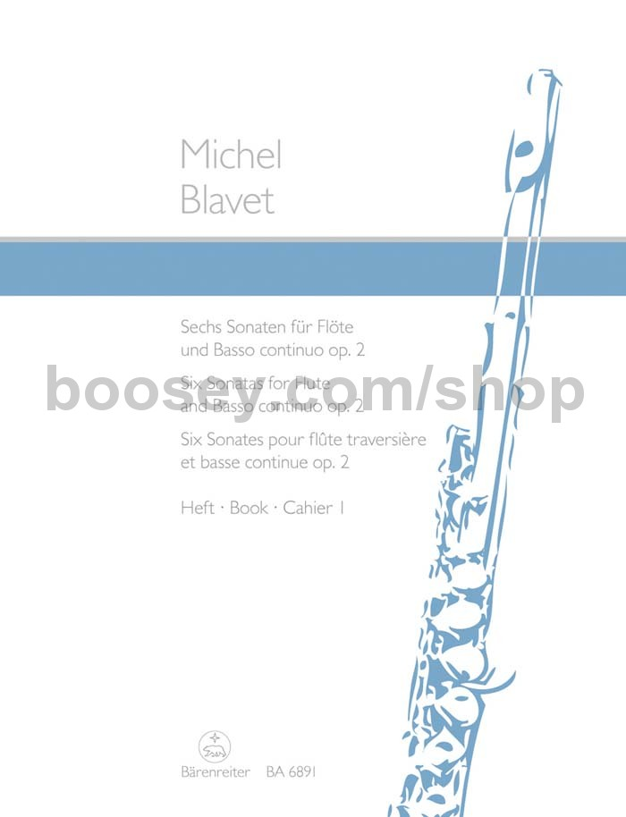 Six Sonatas Bk1 op Michel score and parts Flute and Basso cont 3 //4-6 Blavet