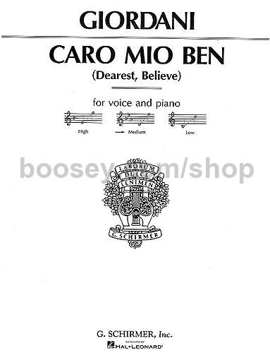 Giordani, Giuseppe - Caro Mio Ben High Voice (key: F)