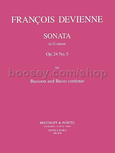 24 Nr Sonate in g op 5  Bassoon and Continuo François Devienne Book Only BRKMR