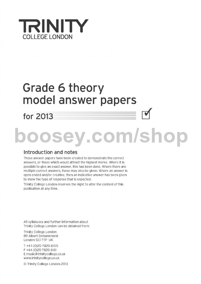 Music Theory Model Answer Papers 2013 - Grade 6 - Trinity