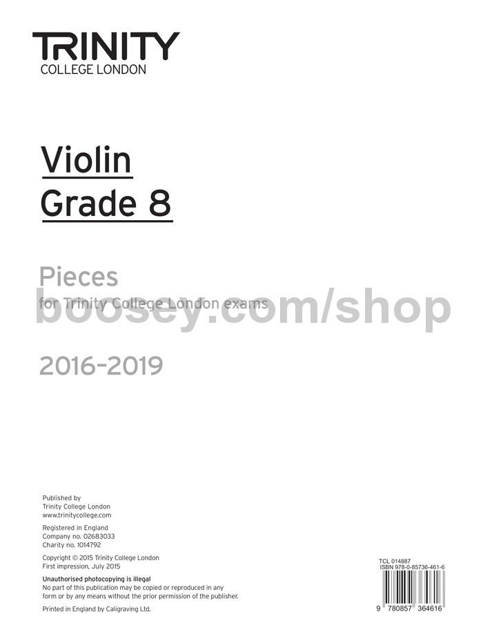 Violin Exam Pieces Grade 8, 2016-2019 (part only) - Trinity