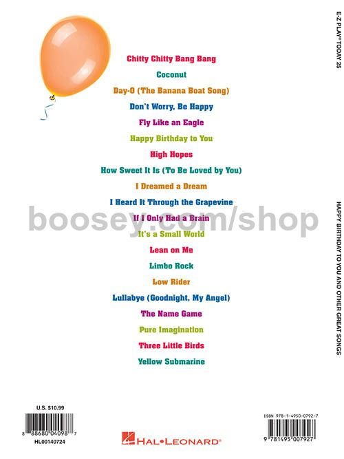 Various - Happy Birthday to You and Other Great Songs (E-Z Play Today)