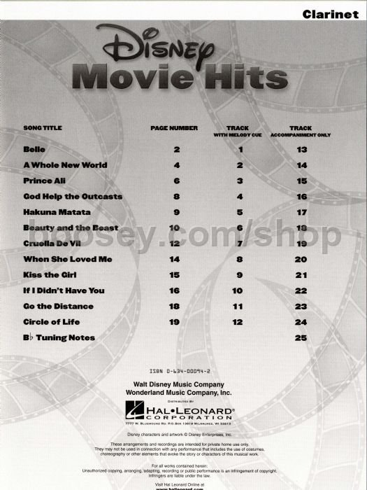 Disney Movie Hits For Clarinet Book Amp Audio Download