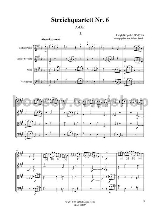 Bengraf, Joseph - String Quartet No  6 in A major - string