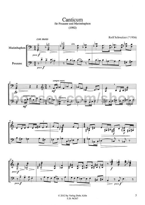 Schweizer, Rolf - Canticum - Trombone & Marimba (score & parts)