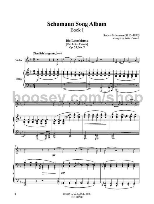 Schumann Robert Schumann Song Album I Violin And Piano