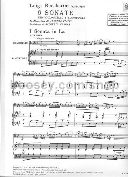 Musical Instruments & Gear Luigi Boccherini Six Cello Sonatas Learn To Play Cello Piano Sheet Music Book